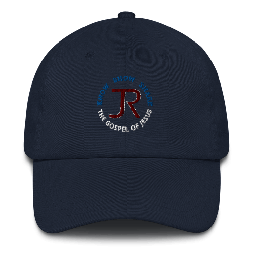 navy blue dad hat with JR logo and know show share the gospel of Jesus