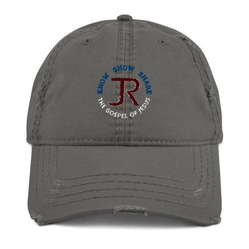 Dark gray distressed baseball cap with JR logo and Know Show Share the gospel of Jesus