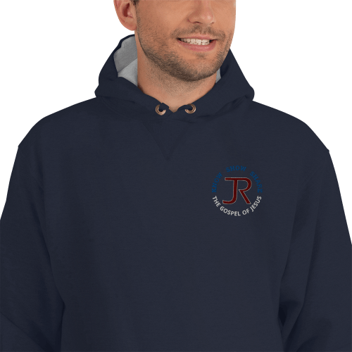man wearing navy blue Champion fleece hoodie with JR logo and know show share gospel of Jesus