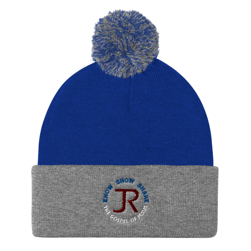 Gray and blue pom-pom beanie with JR logo and Know Show Share the gospel of Jesus