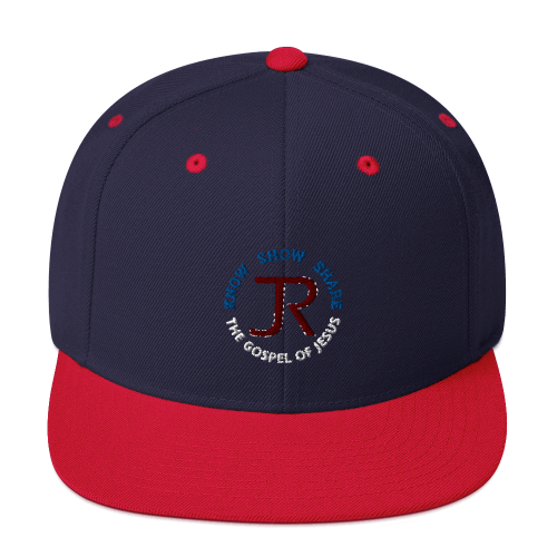 navy blue and red flat brim snapback hat with JR logp and know show share the gospel of Jesus