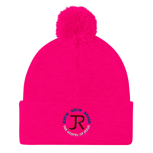 pink pom pom beanie with JR logo and know show share the gospel of Jesus