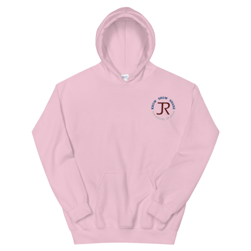 pink fleece pullover hoodie with JR logo and know show share the gospel of Jesus