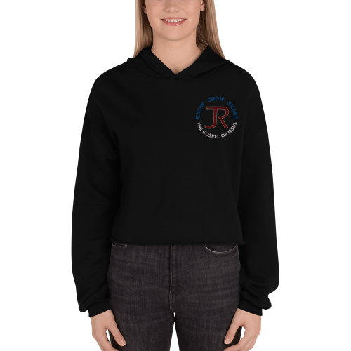 woman wearing black fleece cropped hoodie with JR logo and know show share the gospel of Jesus