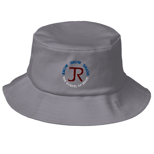 Gray fishing bucket hat with JR logo and Know Show Share the gospel of Jesus