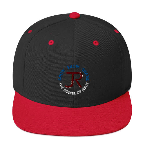 black and red flat brim snapback hat with JR logo and know show share the gospel of Jesus