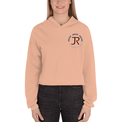 woman wearing peach fleece cropped hoodie with JR logo and know show share the gospel of Jesus