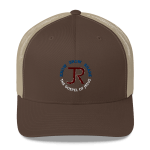 brown and beige trucker hat with JR logo and know show share the gospel of Jesus