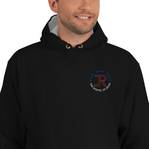 man wearing black Champion fleece hoodie with JR logo and know show share gospel of Jesus