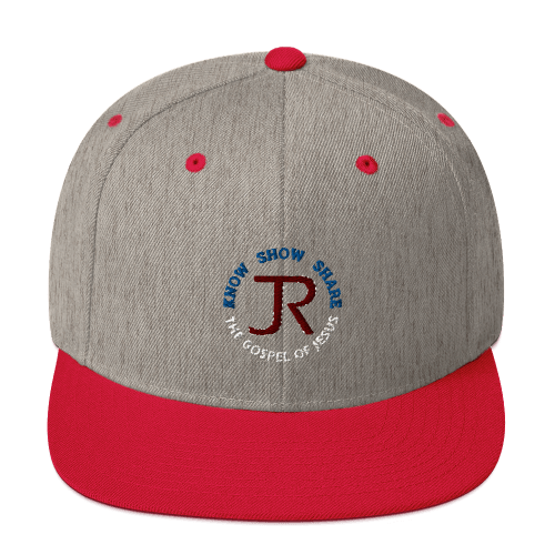 heather gray and red flat brim snapback hat with JR logo and know show share the gospel of Jesus