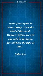 Instagram story Bible verse meme quoting John 8:12