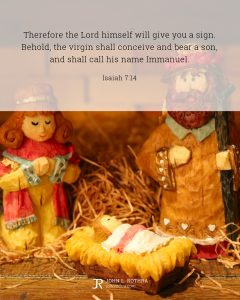 Bible meme quoting Isaiah 7:14 with a Nativity scene