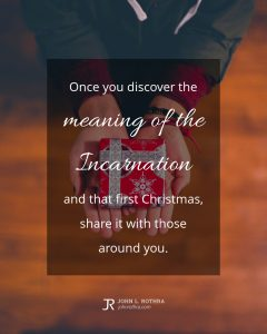 Quote meme about Christmas with woman holding small gift