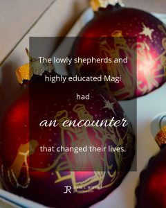Quote meme about Christmas with red ball ornaments