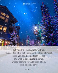 Bible meme quoting Micah 5:2 with snow falling on street light and trees in small village