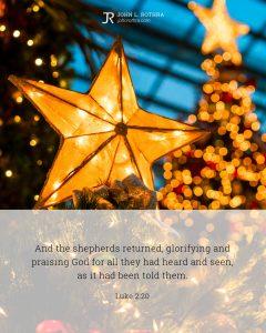 Bible meme quoting Luke 2:20 with lit star atop tree