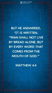 Instagram story meme quoting Matthew 4:4