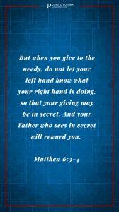 Instagram story Bible verse meme quoting Matthew 6:3-4