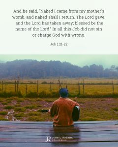 Bible meme quoting Job 1:21-22 with man playing guitar looking out at field