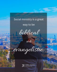 Quote meme about social ministry with man looking out over docked ships