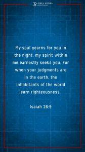 Instagram story Bible verse meme quoting Isaiah 26:9
