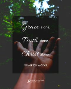 quote meme about salvation with hand reaching toward trees