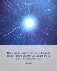 Bible meme quoting 1 John 1:5 with big bright star in space and light emanating from it