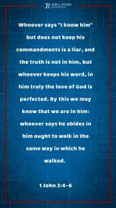 Instagram story Bible verse meme quoting 1 John 2:4-6