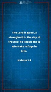 Instagram story Bible verse meme quoting Nahum 1:7