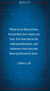 Instagram story Bible verse meme quoting 1 John 4:18