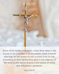 Bible meme quoting Ezra 2:68-69 with gold and silver metal crucifix on a table