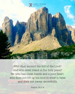 Bible meme quoting Psalm 24:3-4 with rocky tall mountain