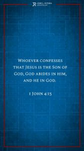 Instagram story Bible verse meme quoting 1 John 4:15
