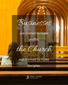 quote meme about church leadership with woman sitting in empty church