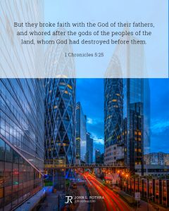 Bible meme quoting 1 Chronicles 5:25 with city buildings and cars at dusk