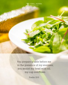 Bible meme quoting Psalm 23:5 with salad in bowl on picnic table