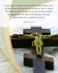 Bible meme quoting Hebrews 1:1-2 with wooden crucifix on open Bible