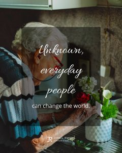 quote meme about mentoring with old woman caring for flowers