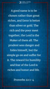 Instagram story Bible verse meme quoting Proverbs 22:1-4
