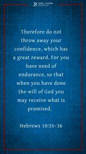 Instagram story Bible verse meme quoting Hebrews 10:35-36