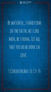 Instagram story Bible verse meme quoting 1 Corinthians 16:13-14