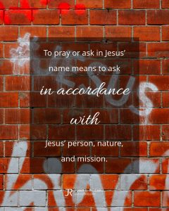 quote meme about prayer with brick wall painted with hashtag Jesus