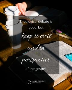 quote meme about theology with open Bibles and coffee cups on table