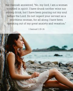 Bible meme quoting 1 Samuel 1:15-16 with woman sitting on rocky beach looking out over water
