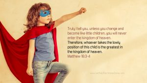girl in superhero cape and mask with Matthew 18:3-4 desktop wallpaper