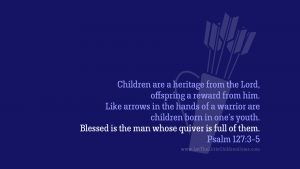 archery arrows in holder with Psalm 127:3-5 desktop wallpaper