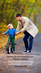 father teaching son to ride bike with Ephesians 6:4 mobile wallpaper