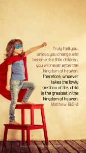 girl in superhero cape and mask with Matthew 18:3-4 mobile wallpaper