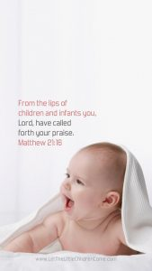 baby and blanket with Matthew 21:16 mobile wallpaper