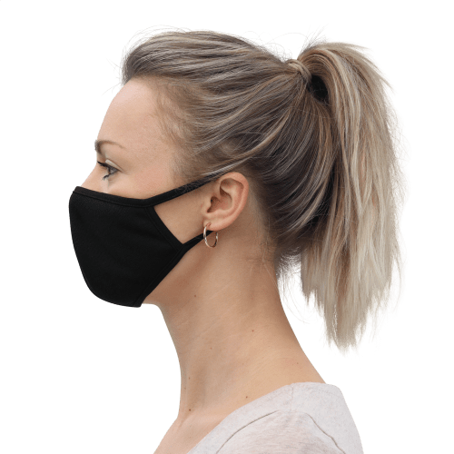 woman wearing face mask left side view